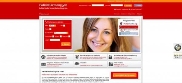 Screenhot der Webseite PolishHarmony.de. Polish Harmony ist eine Online Partnervermittlung