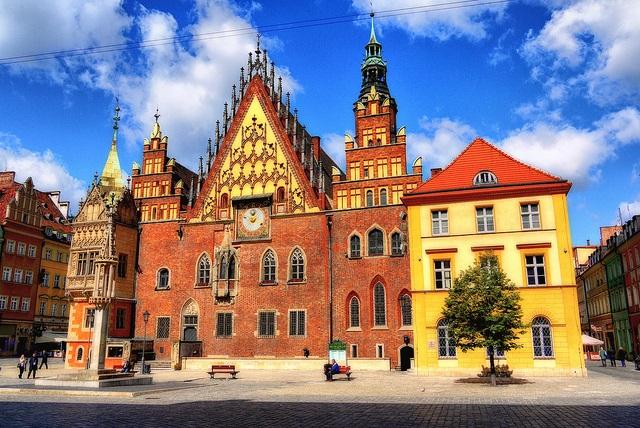 Breslauer Rathaus in der Altstadt von Breslau