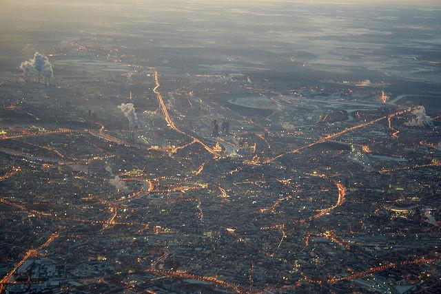 Die russische Hauptstadt Moskau aus der Vogelperspektive
