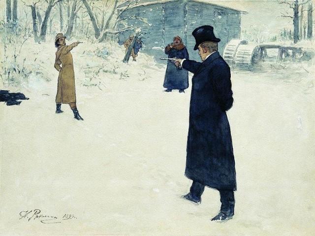 Duell zwischen Eugen Onegin und Vladimir Lenskij | Illustration des russischen Malers Ilya Repin