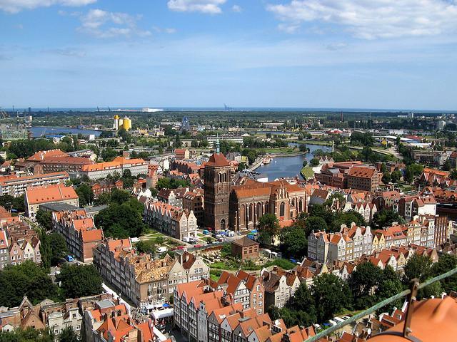 Blick über Danzig von der Marienkirche aus