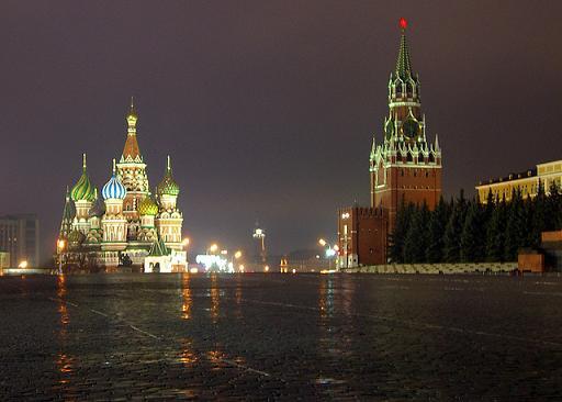 Roter Platz und Basilius-Kathedrale in der russischen Hauptstadt Moskau